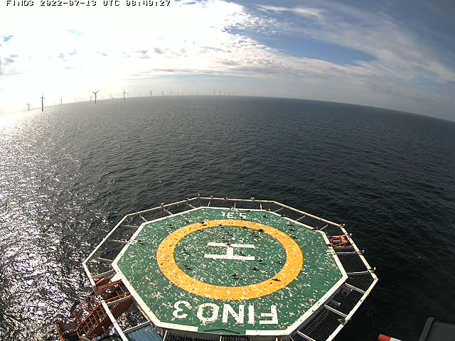 Webcam Heliport FINO 3 in der Nordsee